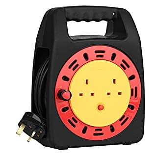 SIMBR Cable Reel 13A Extension Lead Reel with 2 Sockets and Thermal Cut-Out, Black (25m)