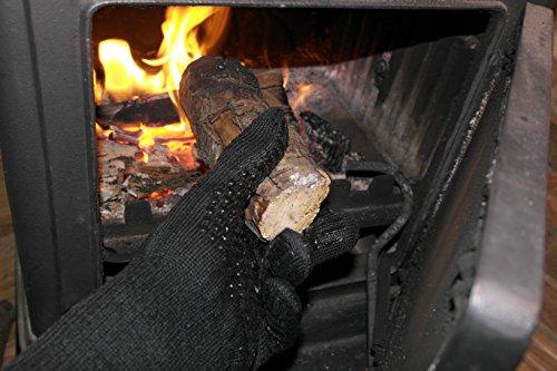 51vWistzmaL - Premium Ofenhandschuhe aus Aramid - hitzebeständig bis 500°C - elegantes Design - Vielseitig einsetzbar - Grillhandschuhe - Kaminhandschuhe - Topfhandschuhe - Backhandschuhe (schwarz)