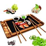 NutriChef PKSUSH10 Servier-Set aus Holz mit Schiefersteinplatte, Keramik-Saucschüsseln, Essstäbchen – für Präsentation oder Schneiden von Obst, Fleisch, für NutriChef