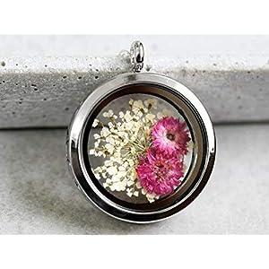 925 Sterling Silber Echte Blüten Medaillon-Kette Lebensfreude Naturschmuck Geschenkidee Handmade in Berlin Weiße Dillblüten und Chrysanthemen Geschenkverpackung