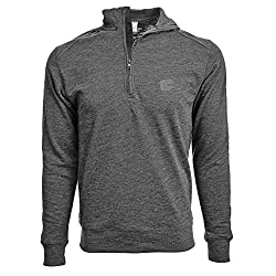 NHL Calgary Flames Men's Hudson Faux Show Text Quarter Zip Pullover, Large, Heather Charcoal