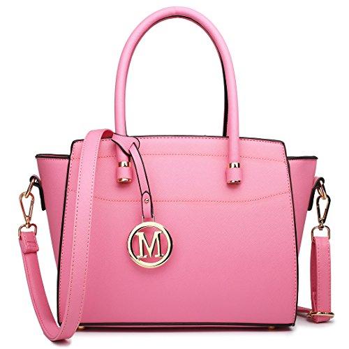 Miss Lulu Damen Klassische Geflügelt Handtasche Winged Schultertasche Klein Taschen 1625 Pink