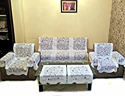 ROSE PETAL POLYESTER NET SOFA SLIPCOVER SET WITH 6 ARMS COVER