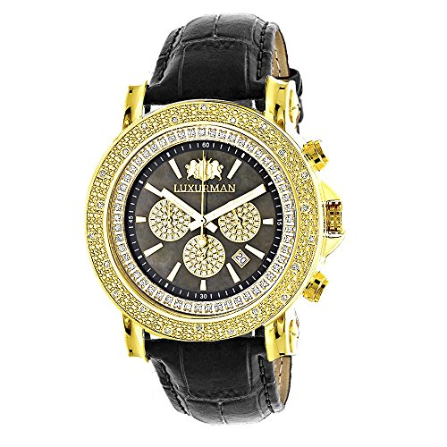 Large LUXURMAN Mens Watch with Diamonds 0.25ct Yellow Gold Plated Black MOP Escalade with Leather Strap