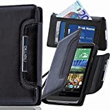 numia HTC Desire X Hülle, Handyhülle Handy Schutzhülle [Book-Style Handytasche mit Standfunktion und Kartenfach] Pu Leder Tasche für HTC Desire X Case Cover [Schwarz]