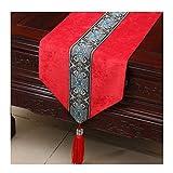 SCJ Tischdecke Bett Flagge Chinesischen Modernen Gartentisch Couchtisch Betttuch Cord Einfache Mode Rot (Größe: 33 * 150 cm)