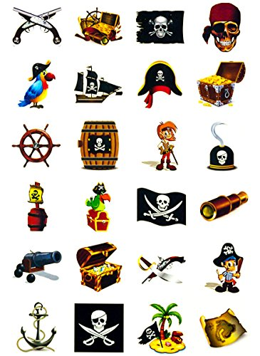 Oblique Unique Piraten Tattoo Set 48 Kindertattoos - verschiedene Piraten Motive Kinder Spielen (Papier Bogen Schaum)