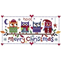 Le cuciture Shed Kit di Natale a punto croce con gufi, colore: bianco
