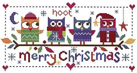 The Stitching Shed Kit broderie pour point de croix Motif chouettes de Noël, blanc