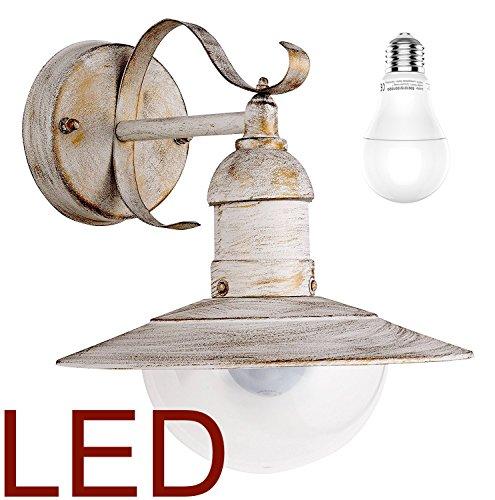 RABALUX 8270 LED A+, Oslo Wandleuchte Shabby Antik-Weiß-Gold Außenlampe Hoflampe Gartenlampe Gartenleuchte, 28 x 24 x 37 cm [Energieklasse A+]