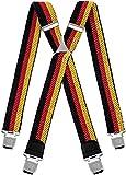 Decalen Hosenträger für Herren breit extra starken 4 cm mit 4er Clips X-Form lange für Männer und Damen Hose alle Farben (Gelb Rot Schwarz)