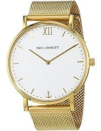 Paul Hewitt PH-SA-G-St-W-4S - Reloj con correa de acero inoxidable para hombre, color blanco / dorado