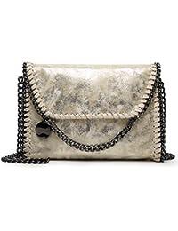 Valleycomfy Women Handbag Elegant Shoulder Bag Metallic Chain Strap Pu Leather Crossbody Borse a tracolla