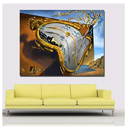 chtshjdtb Selbstlos postmoderne abstrakte Kunst Uhr von Salvador Dali Leinwand gedruckt Kunst Malerei Wandbilder für Wohnzimmer Dekor-50x70cm kein Rahmen