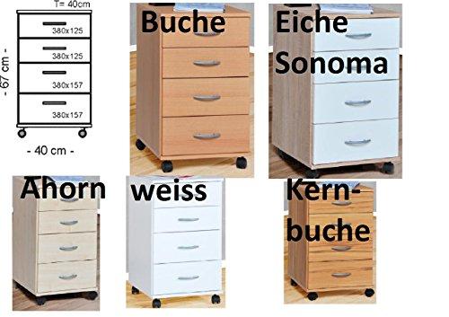 Ahorn Nachttisch (Rollcontainer Container Bürocontainer Nachtschrank Buche Kernbuche weiss Ahorn Eiche (1.1.1941 - Eiche sägerauh))