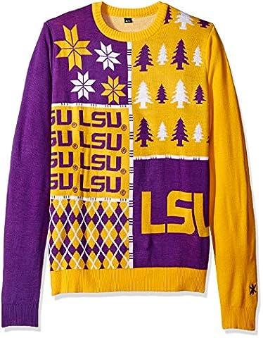 KLEW NCAA LSU Tigers Busy Block Ugly Sweater, Medium, Purple