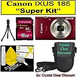 Canon IXUS 185 Appareil Photo numérique Super Kit (Rouge)