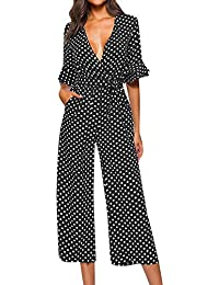 1d3f09e19774 LuckyBB Womens Polka Dot Holiday Wide Leg Pants Long Jumpsuit Ladies V-Neck  Playsuit