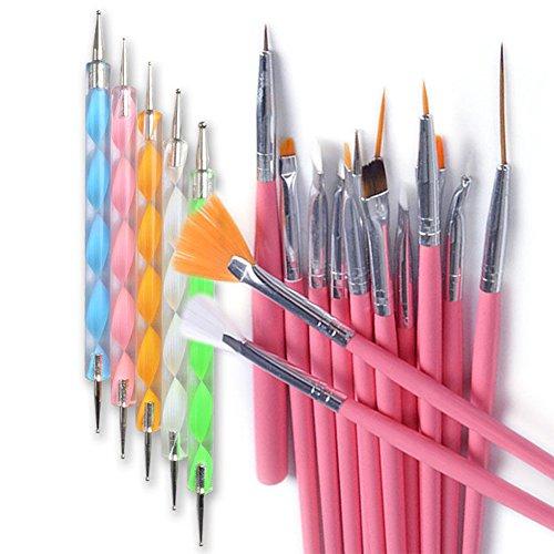 20PCS/set Pro DIY Nagel Kunst Design Malen Zeichnen Dotting-Werkzeug Pinsel Stift (Winkel Fächerpinsel)