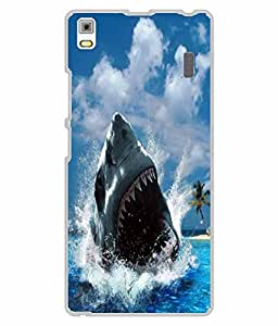 Make My Print Fish Printed Blue Hard Back Cover For Lenovo A7000/K3MP Note