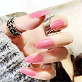 BloomingBoom 24Pcs/Lot Falsche Nägel Ballerina Falscher Nagel Lang Volle Deckung Bereits Gefärbt False Nail for Predesign Press On Coffin Pink Rosa Rose