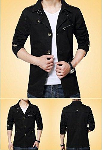 OHmais homme parka manteau d'hiver veste fourré Noir