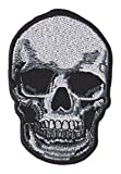 Calavera Skull Cráneo Negro Blanco Parche para ropa Parches Bordados Parche Termoadhesivo Iron on Patches Sew on Patches Aplicación Apliques Mochila Bolso Jeans Chaqueta Sombrero Backpack Jacket Hat Hoodie – Treasure-Quest
