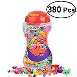 Rosenice - Juego de 380 piezas de perlas para niños, para hacer manualidades, collares, anillos, pulseras, manualidades, juguetes de regalo para niños y niñas