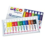 DECO E1336 Colori a Tempera 12 Tubi, 12 ml, Assortiti