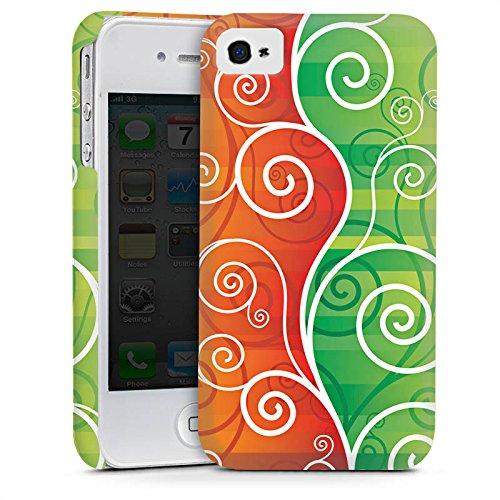 Apple iPhone 4 Housse Étui Silicone Coque Protection Floral Fioriture Vrilles Cas Premium mat