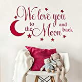 99X56 cm We Love You to the Moon and Back with Hanging Planets and Rocket Design Wall art Sticker Decal Children'