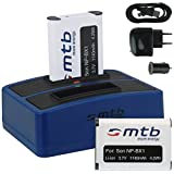 2x Batterie + Double Chargeur (USB/Auto/Secteur) pour Sony NP-BX1 / Sony Action Cam HDR-AS10, AS15, AS20, AS30(V), AS50(V/R), AS100V, AS200V / FDR-X1000V... v. liste