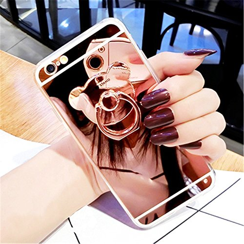 iPhone 5S/SE Miroir Cover Case,iPhone 5S/SE Case Glitter,Hpory Beau élégant Luxury Ultra Thin Soft TPU Gel Silicone Cristal Clair Bling Brillant Miroir Placage Ours Bling Glitter Ring Stand Holder Etu Ours,Or rose