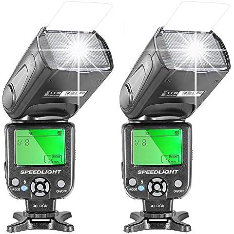 Neewer® Dos NW-561Flash Speedlite con pantalla LCD para Canon Nikon Panasonic Olympus Fujifilm y otras cámaras réflex digitales como Canon 700d, 650d, 600d, 5d Mark II III, y Nikon D7200D7100D5200D5000