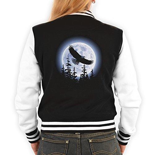 Damen College Jacke schwarz / weiss mit Adler Motiv : Adler -- Collegejacke Damen / Mädchen Farbe: schwarz Schwarz