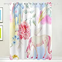 Cortina de ventana, 2 paneles de unicornio y pegaso, estampado floral, aislamiento térmico, grueso, opaco, tela de poliéster, decoración del hogar con ...