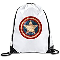 booottty Captain Rogers Guerra Civil Distressed Shield cordón mochila Bolsa, Blanco