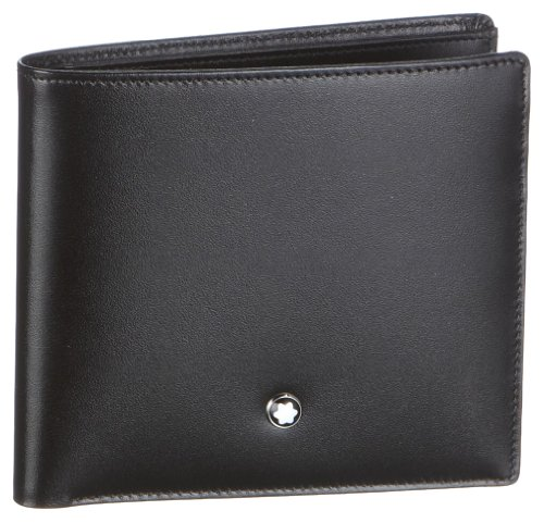 Wallet 8 cc, made of black European full-grain cowhide with unique Montblanc deep shine, jacquard lining with Montblanc brand name, Montblanc emblem with palladium-finish ring, with 8 pockets for credit cards, 2 compartments for cash, 2 additional po...