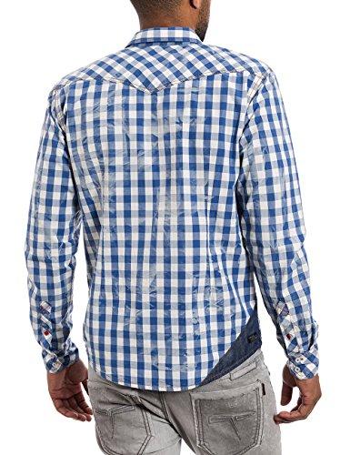 Timezone Longsleeve Shirt, T-Shirt-Maternité Homme Mehrfarbig (fjord blue check 3860)