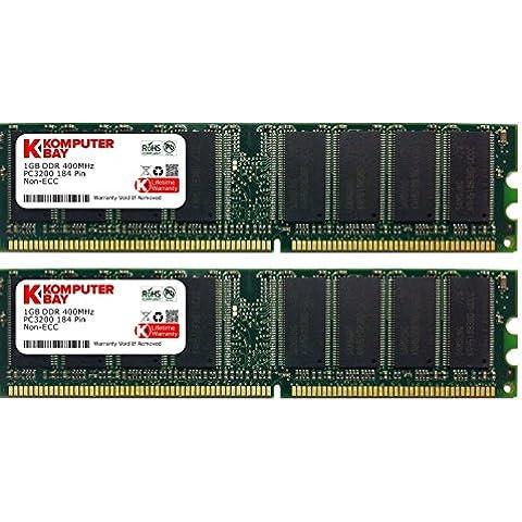 Komputerbay 2 GB DDR PC 3200 - Kit memoria DIMM para PC, 2GB (2 x 1GB), 184 PIN, PC3200, 400MHz, DDR, CL