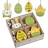 Valery Madelyn Set di 24 Decorazione di Pasqua in Legno Ciondolo Pasquale Uova di Pasqua Coniglietto di Pasqua Decorazione di Primaverile per Pasqua Casa