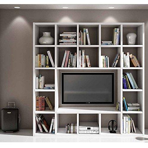 Set Soggiorno Composto Da Libreria E Porta Tv Bianco Frassinato, Stile Moderno, In Mdf Laminato - Mis. 218 X 30 X 218