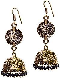 Aamoddhini German Silver Ethnic Boho Traditional Gypsy Chic Designer Partywear Earrings Jhumki For Women And Girls