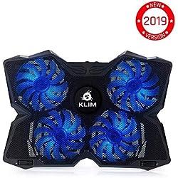 ⭐️KLIMTM Wind - Refroidisseur PC Portable - Le Plus Puissant - Refroidissement Rapide - 4 Ventilateurs Support Ventilé Gamer Gaming Plaque [ Nouvelle Version 2019 ] - Bleu