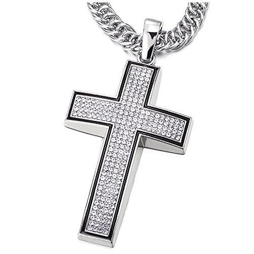 Hip Hop Punk Große Kreuz Anhänger mit Schwarzer Emaille und Strass Herren Damen -Halskette 76cm Seil-Kette (Kreuz Halsketten Für Paare)