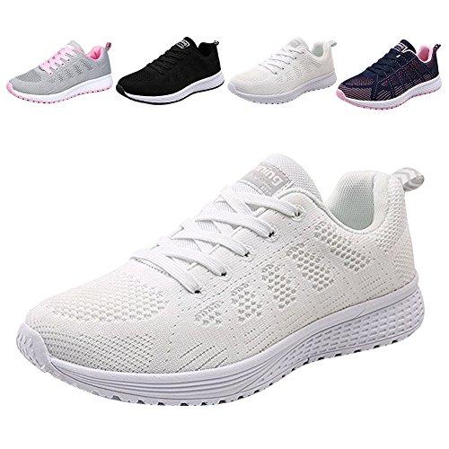 Frauen Spazierengehen Wandern Turnschuhe Sport Tennis Schuh-Breathable Sportlaufschuhe schnüren sich oben Turnschuh-Sport Fitness für Frauen / Mädchen / Dame (EU 36, Weiß) (Frauen-tennis-schuh)