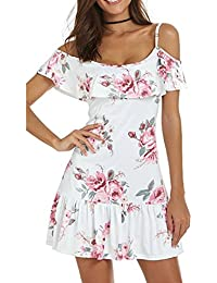 Gaddrt Women Dress Cold Shoulder Floral Mini Summer Dress Spaghetti Strap Beach, Polyester S-
