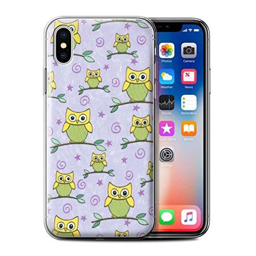Stuff4 Gel TPU Hülle / Case für Apple iPhone X/10 / Orange/Pink Muster / Eule Muster Kollektion Gelb/Violett