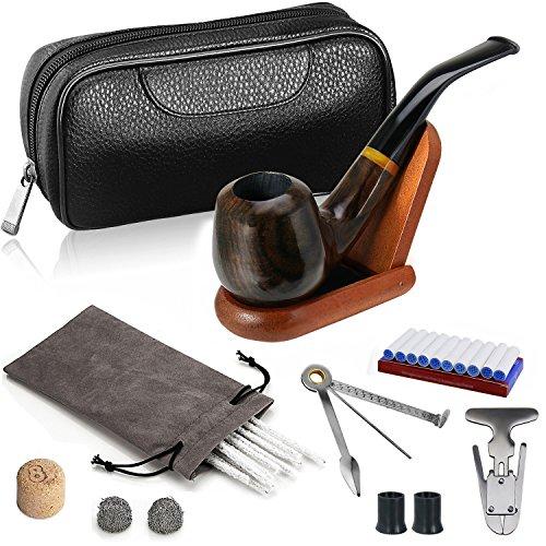 Joyoldelf Luxury Ebony Juego de pipas para fumar tabaco, tubo de madera profundo y a prueba de viento, bolsa de tabaco de cuero, soporte de madera y accesorios para fumar