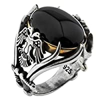 Solid 925 Sterling Silver Onyx Stone Turkish Handmade Luxury Eagle Men's Ring Black
